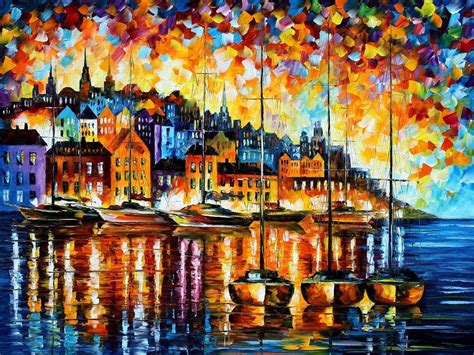 Harbor Of Corsica — Palette Knife Oil Painting On Canvas