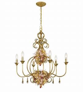 Crystorama fiore light chandelier in antique gold leaf