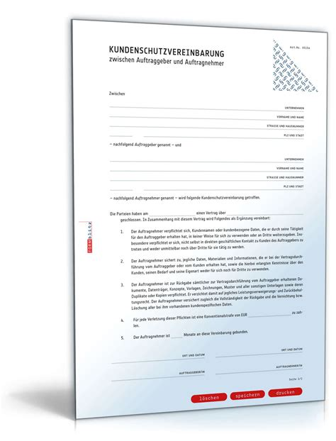 kundenschutzvereinbarung rechtssichere vorlage zum