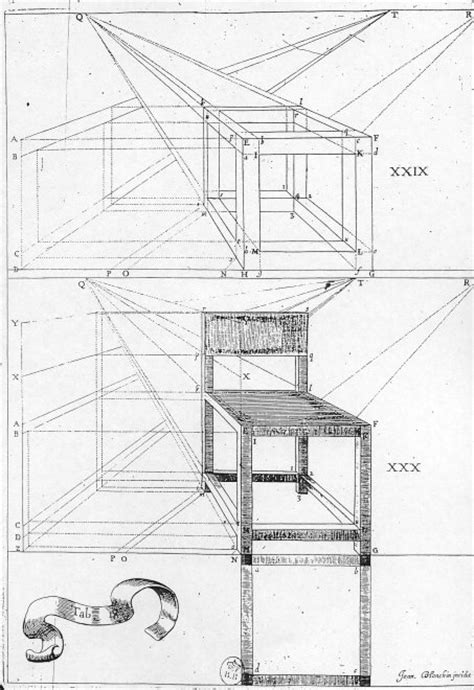 dessin de chaise en perspective anamorphoses perspectives