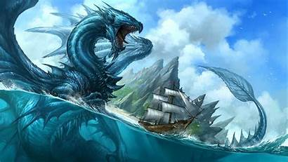 Sea Monster Wallpapers Desktop Dragon Mythical Water