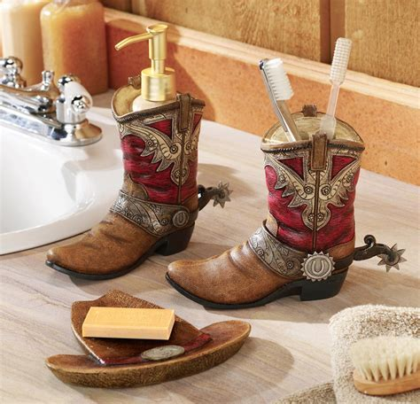 western theme bathroom decor pair  cowboy boots hat