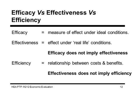 efficacy  effectiveness  efficiency community