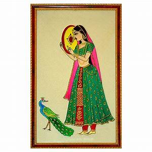 Girl With Peacock - Glass Painting -Online Shopping-