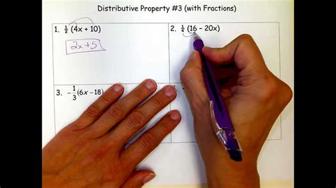 Distributive Property #3 With Fractions Youtube