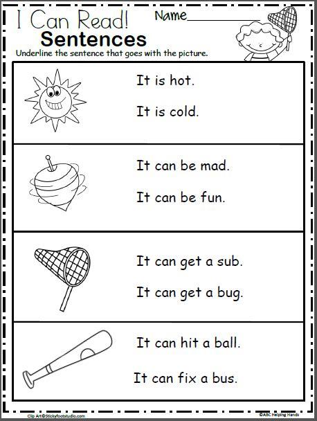 free kindergarten sentence reading worksheets madebyteachers