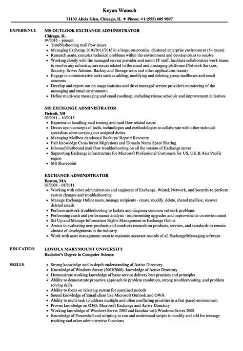 exchange administrator resume sles velvet