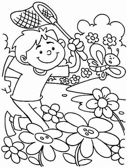 Coloring Springtime Spring Pages Printable Seasons Sheets