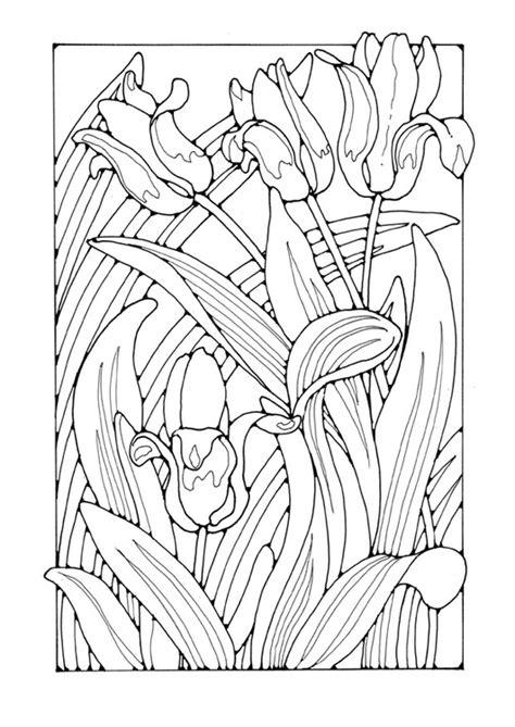 Jugendstil Kleurplaat by Coloring Page Tulips Flower Coloring Pages Tulpaner