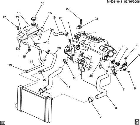 2002 Pontiac 3 4 Engine Cooling Diagram by Hoses Pipes Radiator