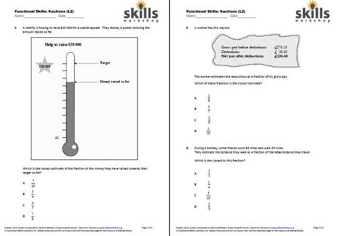 entry level  fractions worksheets comparing fractions