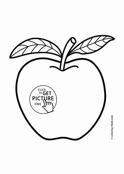 Coloring Apple Fruits Pages Printable Printables 4kids
