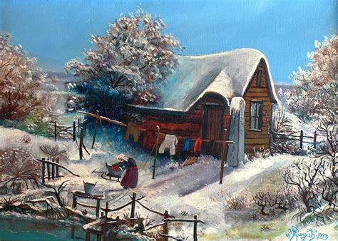 Winter Cottage Winter Cottage Painting By Dragoljub Trindic