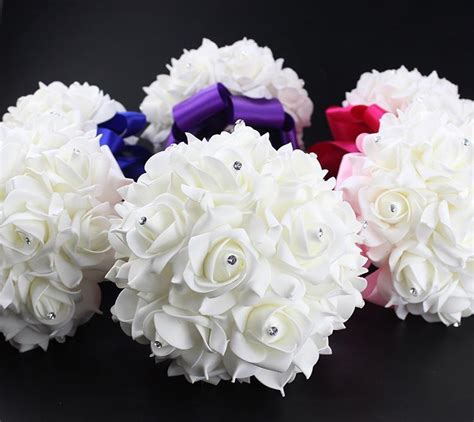 rose artificial bridal bouquets royal blue silk ribbon
