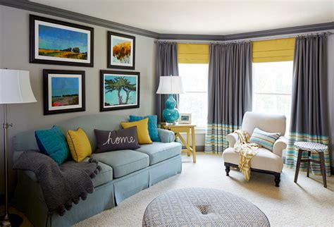 Yellow Gray And Turquoise Living Room by Meriwether Design House Of Turquoise