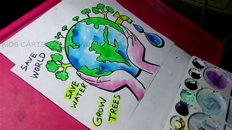 draw save water save trees save nature color