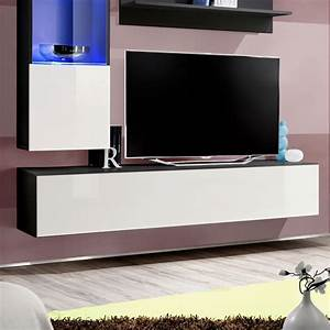 Meuble Tv Mural Blanc : meuble tv mural design fly iii 170cm blanc noir ~ Dailycaller-alerts.com Idées de Décoration