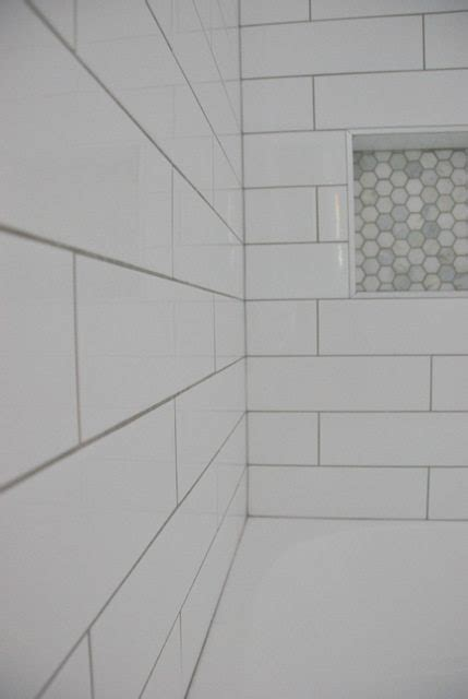 Shower Design: Subway Tile and Marble Tile Niche   THE