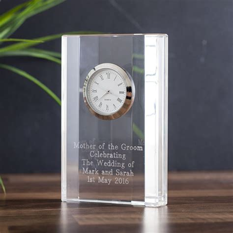 engraved crystal mantel clock  gift experience