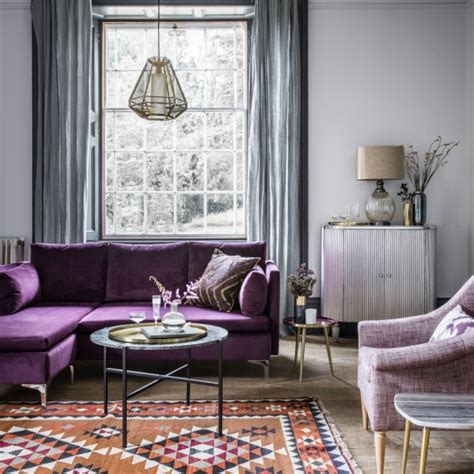 period homes and interiors magazine room reveal purple and grey living room robinson