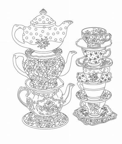 Tea Party Elegant Coloring Pages Printable Adult