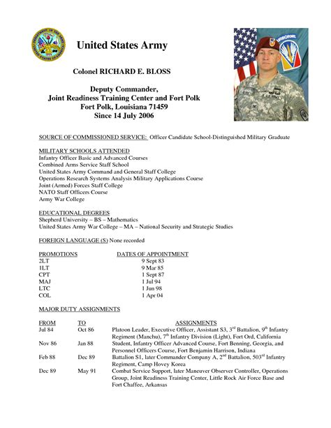 Us Army Resume Address by A Template For Resumes Curriculum
