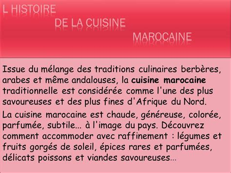 exposé sur la cuisine marocaine la gastronomie marocaine ppt télécharger
