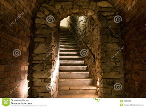 medieval tunnel  stairs stock photo image  cellar