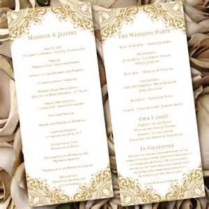 banquet program templates wedding ceremony program template vintage gold by