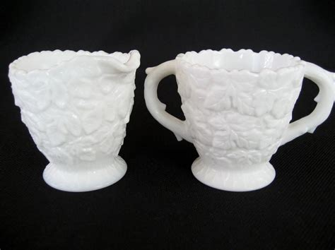westmoreland milk glass westmoreland white milk glass creamer and sugar from thedaisychain on ruby lane