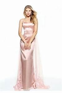 Glamour Spaghetti Strap Long Blush Pink Silk Prom Dress ...