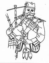 Coloring Bagpipes Playing Man Pages Colouring Sky Template Sheet Young Kilt Tab Person sketch template