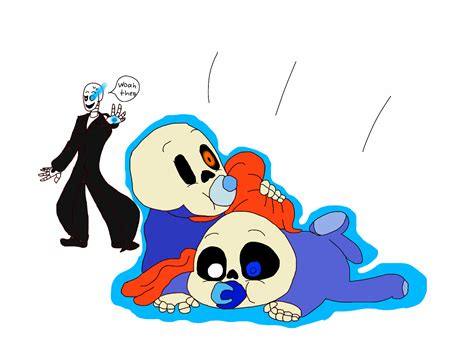 Undertale Baby Sans And Papyrus With Daddy Gaster By