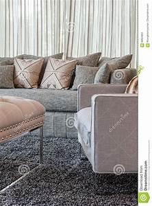 Kissen Für Sofa : graues sofa mit kissen im modernen wohnzimmer stockfoto bild 69923864 ~ Frokenaadalensverden.com Haus und Dekorationen
