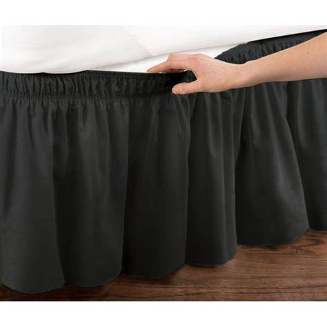 38361 black bed skirt wrap around dust ruffle cotton blend bed skirt 14 inch