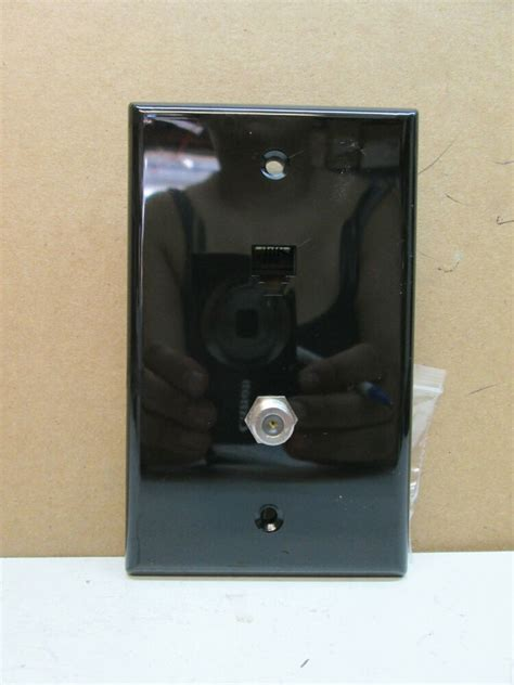 Tv Plate Premier Telephone Phone And Tv Coaxial Cable Combo Wall Plate Black Ebay