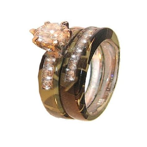 camo wedding rings for him and wedding and bridal inspiration