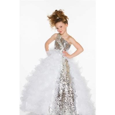 ball gown  shoulder long silver sequin white organza