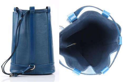 louis vuitton  randonnee blue epi leather gm sling  purse backpack  stdibs