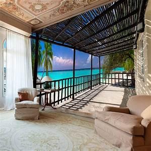Carta da parati mare e spiaggia ecco 20 idee per sognare for Markise balkon mit strand tapete
