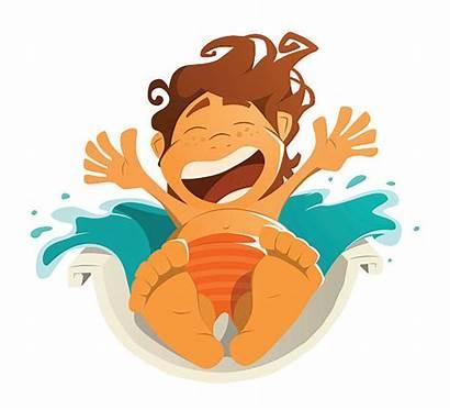 Water Slide Park Vector Clip Illustrations Boy