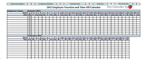 employee vacation absence tracking calendar
