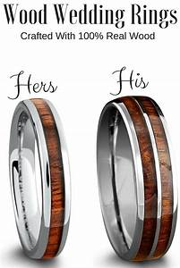 His And Her Matching Wood Wedding Band Set Crafted Out Of