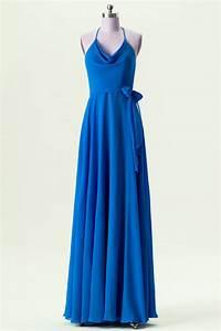 Robe Demoiselle D Honneur Bleu : robe chic bleu royal de demoiselle d 39 honneur col halter ~ Melissatoandfro.com Idées de Décoration