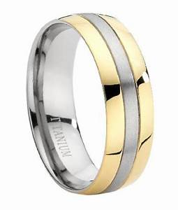 Men39s Two Tone Titanium 8mm Comfort Fit Wedding Ring With