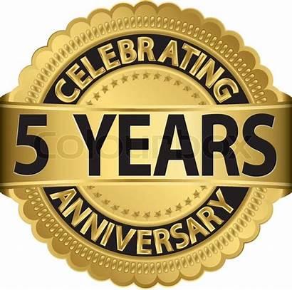 Years Anniversary Celebrating Ribbon Label Golden Birthday