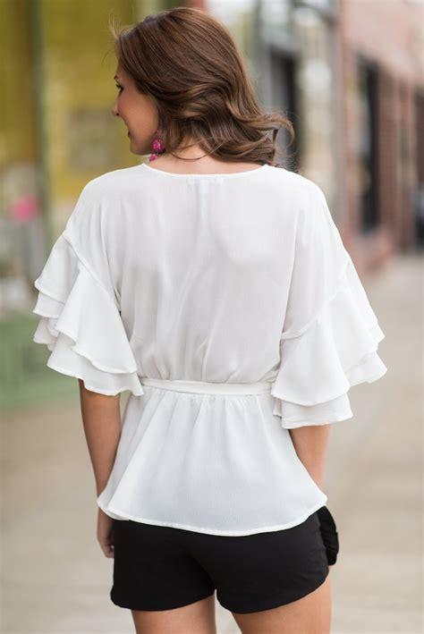 modern beauty blouse  white  mint julep boutique