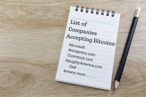 What Businesses Accept Bitcoin by List Ofcompaniesaccepting Bitcoins