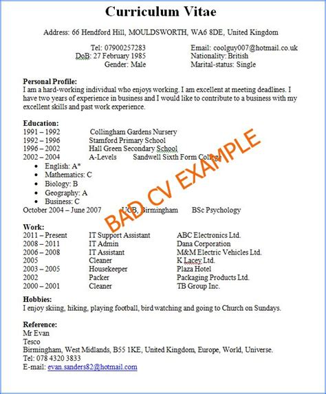 How To Right A Cv Template by Free Bad Resume Exles Intsruction