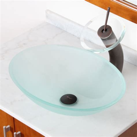 GD12F Luxury Frosted Oval Tempered Glass Bathroom Sink